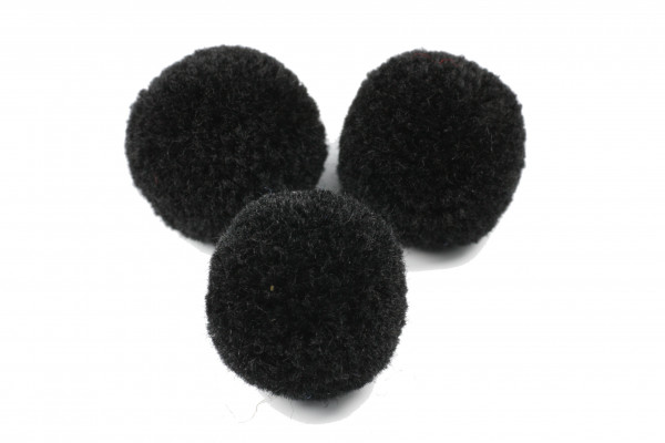 Pompon, rund, schwarz, ca. 20mm