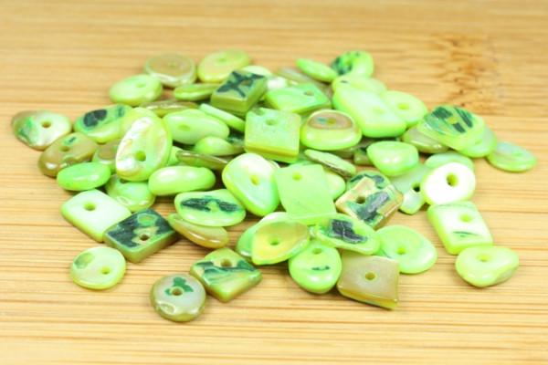 Muschelsplitter, grün, 5-9mm, 70 Stück