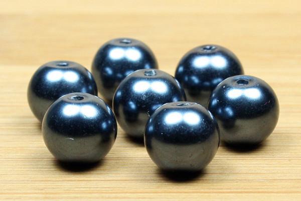 Glaswachsperlen, mitternachtsblau, 6mm
