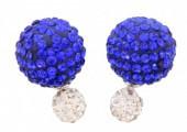 Shamballa Doppel Perlen Ohrstecker, blau-weiß