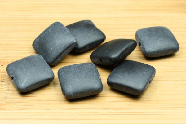 Glasperlen, Quadrate, matt schwarz, 12x12mm