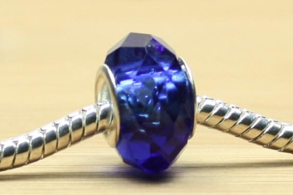 Modulperlen, Kristallglas, facettiert, dunkelblau mit Glanz, 14x10mm