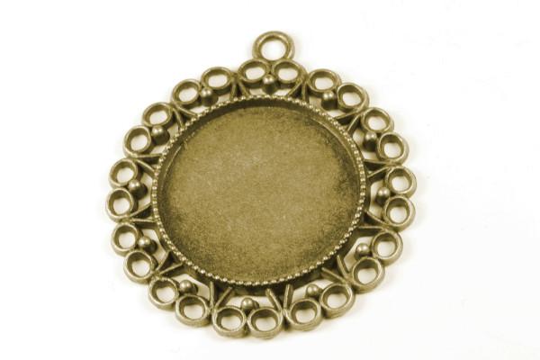 Anhänger Fassung, verzierter Rand, alt bronzefarben, 25mm Cabochon