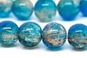 Glasperlen mit Crackle Effekt, rund, blau-braun, ca. 10mm