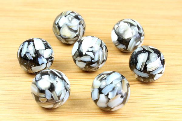 Muschelperlen, Splitter mit Polyester gemischt, schwarz, 8mm