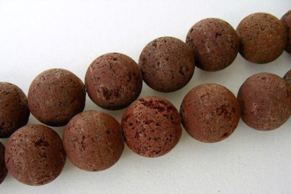 Strang Lava Perlen, braun, naturbelassen, rund, Ø 16mm