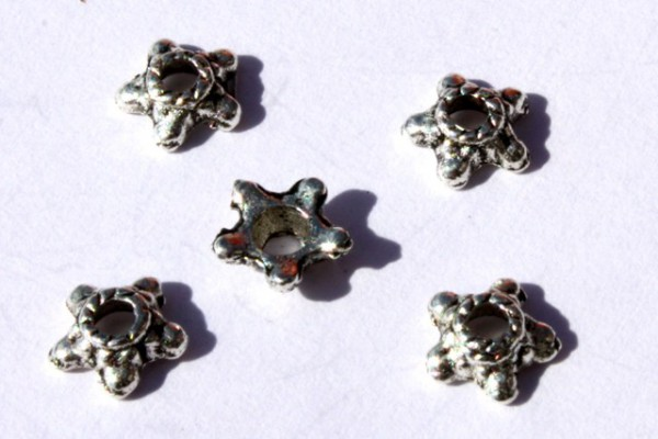 Perlkappen, Sternform, versilbert, 5mm