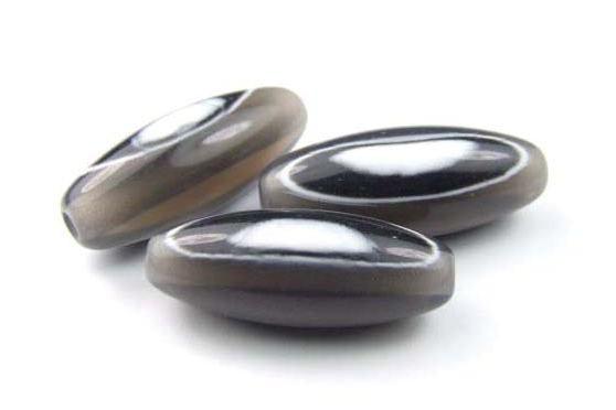Acrylperlen, Olive, schwarz mit weißem Muster, 32x12mm