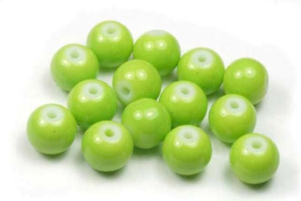 Glasperlen, opak grasgrün, 8mm