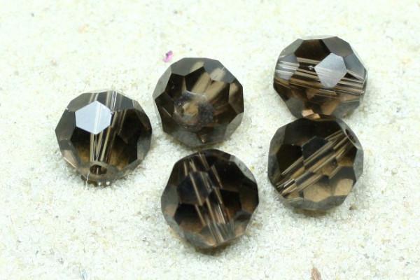 Glasschliffperlen, 32fach facettiert, rauchquarz, 8mm