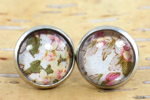 Ohrschmuck, Blumen Motiv, rosa/grün/natur, silberfarben, 12mm