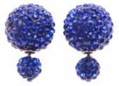 Shamballa Doppel Perlen Ohrstecker, blau