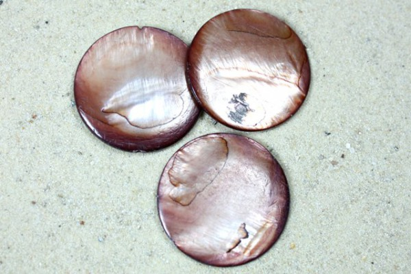 Muschelperlen, Scheiben, mocca, 30mm