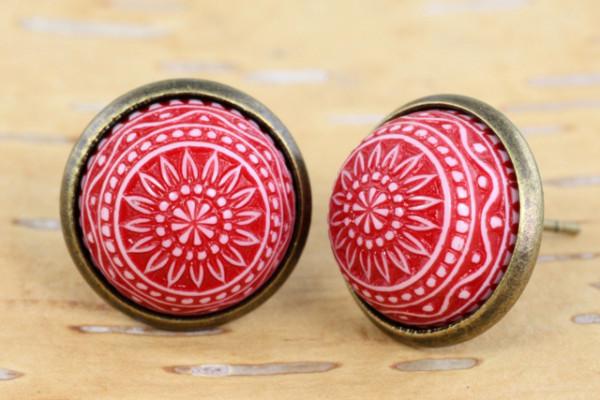 Ohrstecker, Mosaikperle, rot, bronzefarben, 12mm