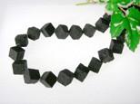 Lava Würfel, Strang, schwarz, diagonal gebohrt, natur, 10x10mm