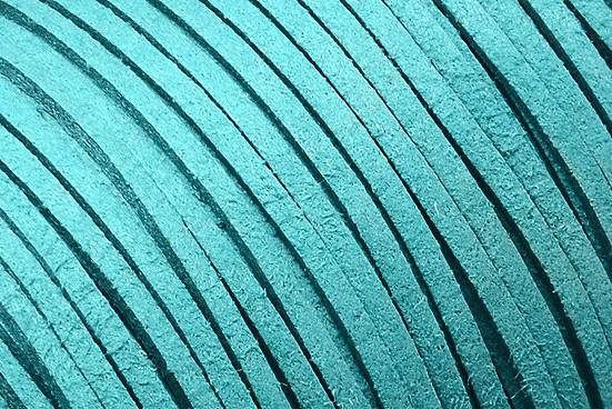 Veloursband in Wildlederoptik, flach, dunkeltürkis, ca. 3x1.4mm