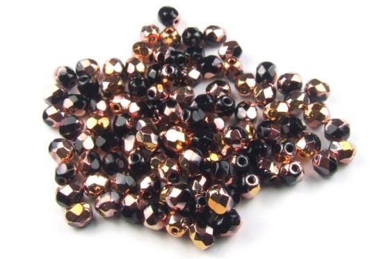 Böhmische Glasschliffperlen, schwarz-kupfer sparkle, 4mm, 50 Stück