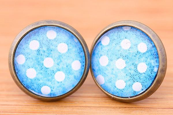 Cabochons Ohrstecker, weiße Punkte/blauer Hintergrund, bronzefarben, ca. 12mm