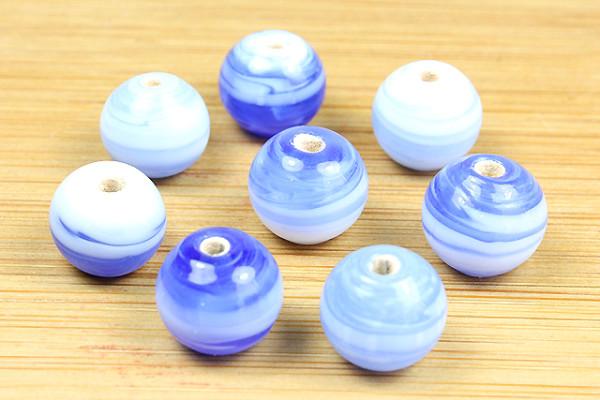 Glasperlen, royalblau-weiß, 8mm