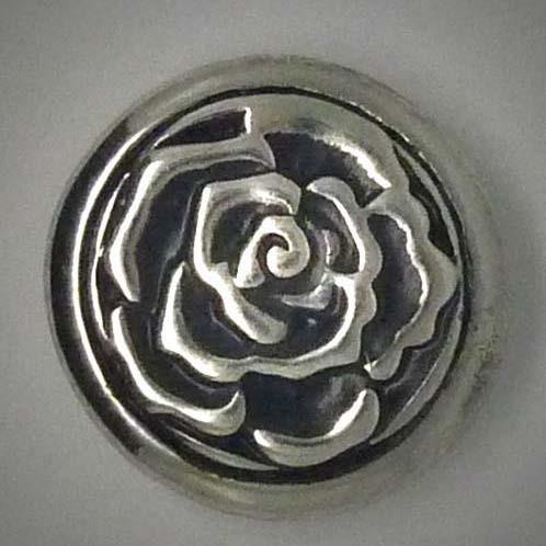 Druckknopf, Rosenblüte, silberfarben, 20mm
