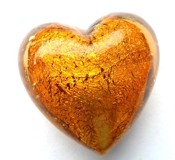 Glas Herzen mit Silbereinzug, braun, ca. 25x29x19mm