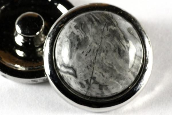 Druckknopf, grauer Picture Jaspis, 20mm