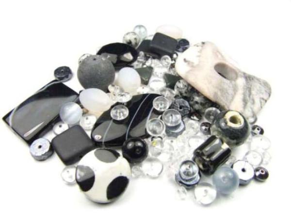 Konvolut, Perlenmix, schwarz-transparent-weiß