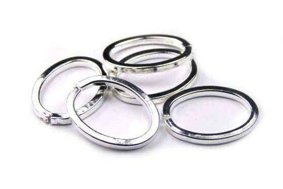 Binderinge, oval, versilbert, 17x13mm