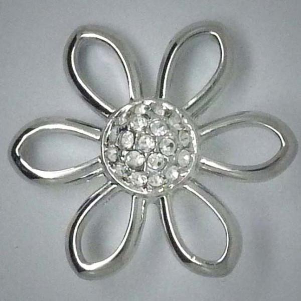 Schmuckdruckknopf, große Blume mit weißem Strass, 30mm