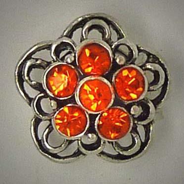 Mini Schmuckdruckknopf, Blüte mit 6 orangen Strasssteinen, ca. 16mm