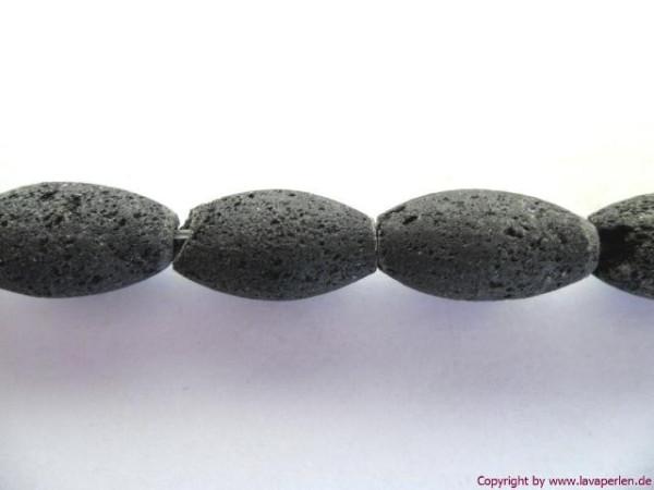 Lava Oliven, Strang, schwarz, naturbelassen, 15x8mm