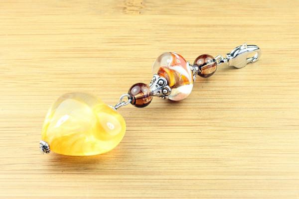 Wechselanhänger, gelb/oranges Acrylherz