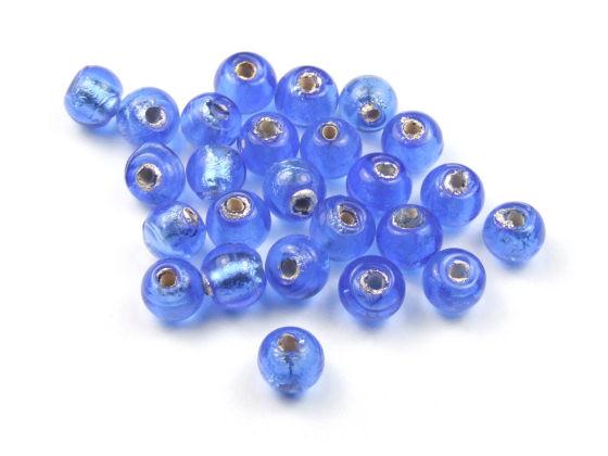 Glasperlen mit Silberfolieneinzug, rund, ozeanblau, 6mm
