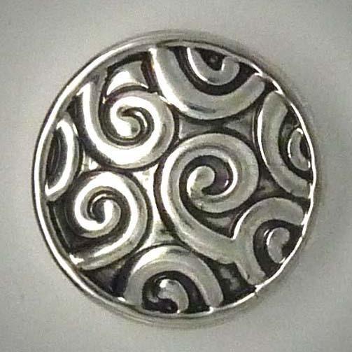 Click-Button, Ornamente, silber, ca. 20mm