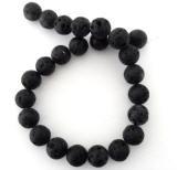 Lava Perlen, Strang, Rustika, rund, schwarz, Ø 16mm