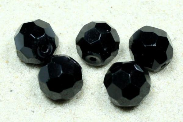 Glasschliffperlen, 32fach facettiert, schwarz, 10mm
