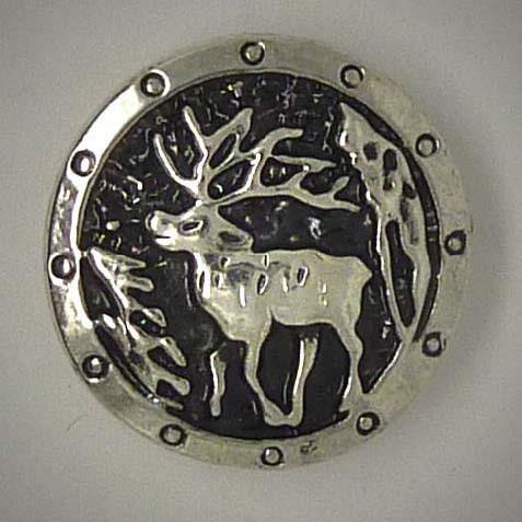 Druckknopf, Hirsch, silberfarben, ca. 20mm