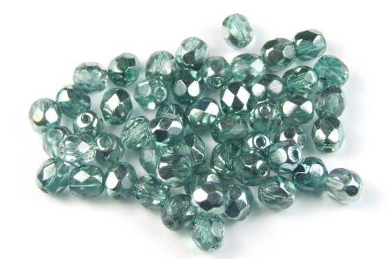 Böhmische Glasschliffperlen, reseda-reseda plattiert, 4mm, 50 Stück