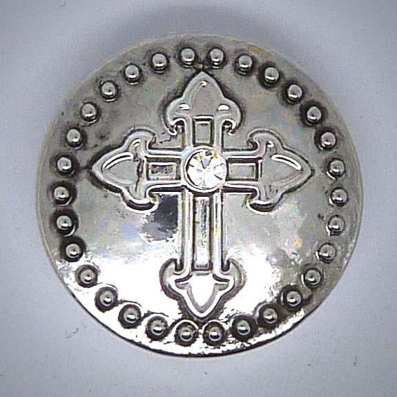 Druckknopf, Kreuz mit transparentem Strass, silber, 20mm