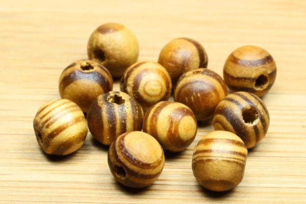 Holzperlen, Wurzelholz, rund, natur, 8mm, 20 Stück