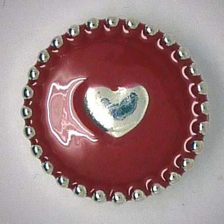 Druckknopf, Herz mit Rand, rot/silberfarben, 20mm