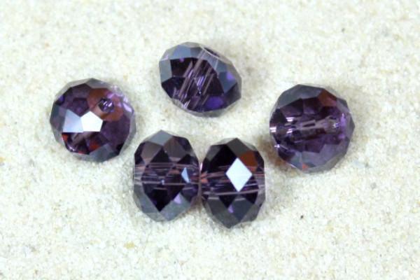 Kristallperlen, Rondelle, lila, 6x4mm
