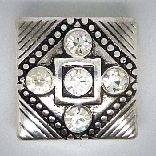 Druckknopf, quadratisch mit funkelndem Glas, ca. 20mm
