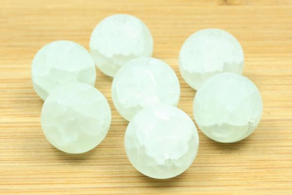Glasperlen, weiß marmoriert, 12mm