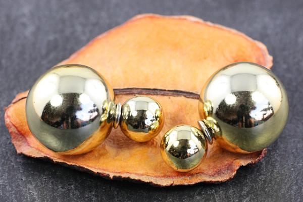 Doppel Perlen Ohrstecker, goldfarben glänzend, Perlen 16 und 8mm