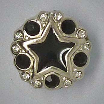 Mini Zierdruckknopf, Stern, schwarz/silberfarben, 12mm
