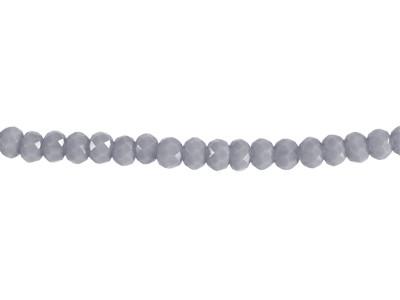 Glasschliffperlen, Rondelle, grau opak, 2x3mm, ca. 200 Stück per Strang