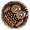 Click-Button, Eule mit türkisem Strass, kupfer, ca. 20mm