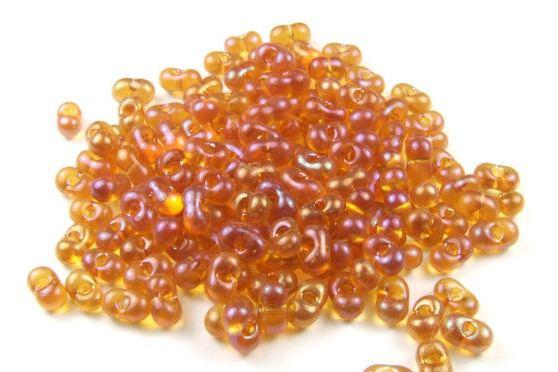 Farfalle Perlen, bernstein, 6x3mm, 15 Gramm