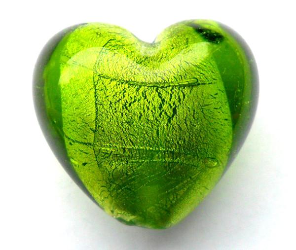 Glas Herzen mit Silbereinzug, grün, ca. 25x29x19mm